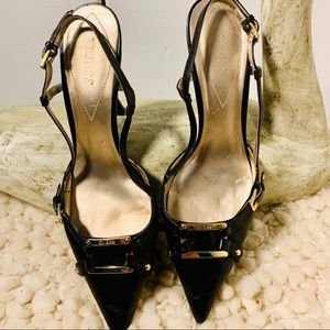 GUESS Slingback Pointed Buckle Heels 9 1/2 M EUC